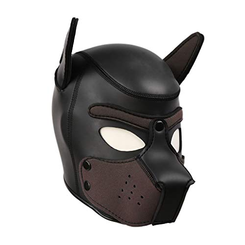 Fetisch Neuheit Kostüm Slave Dog Cosplay for Paare Schlafzimmer Spaß Vollgesichtsmaske Hund Welpe Kapuze Lederhelm Abnehmbarer Mund Cosplay Kostüm Party Requisiten,Blackbrown,L