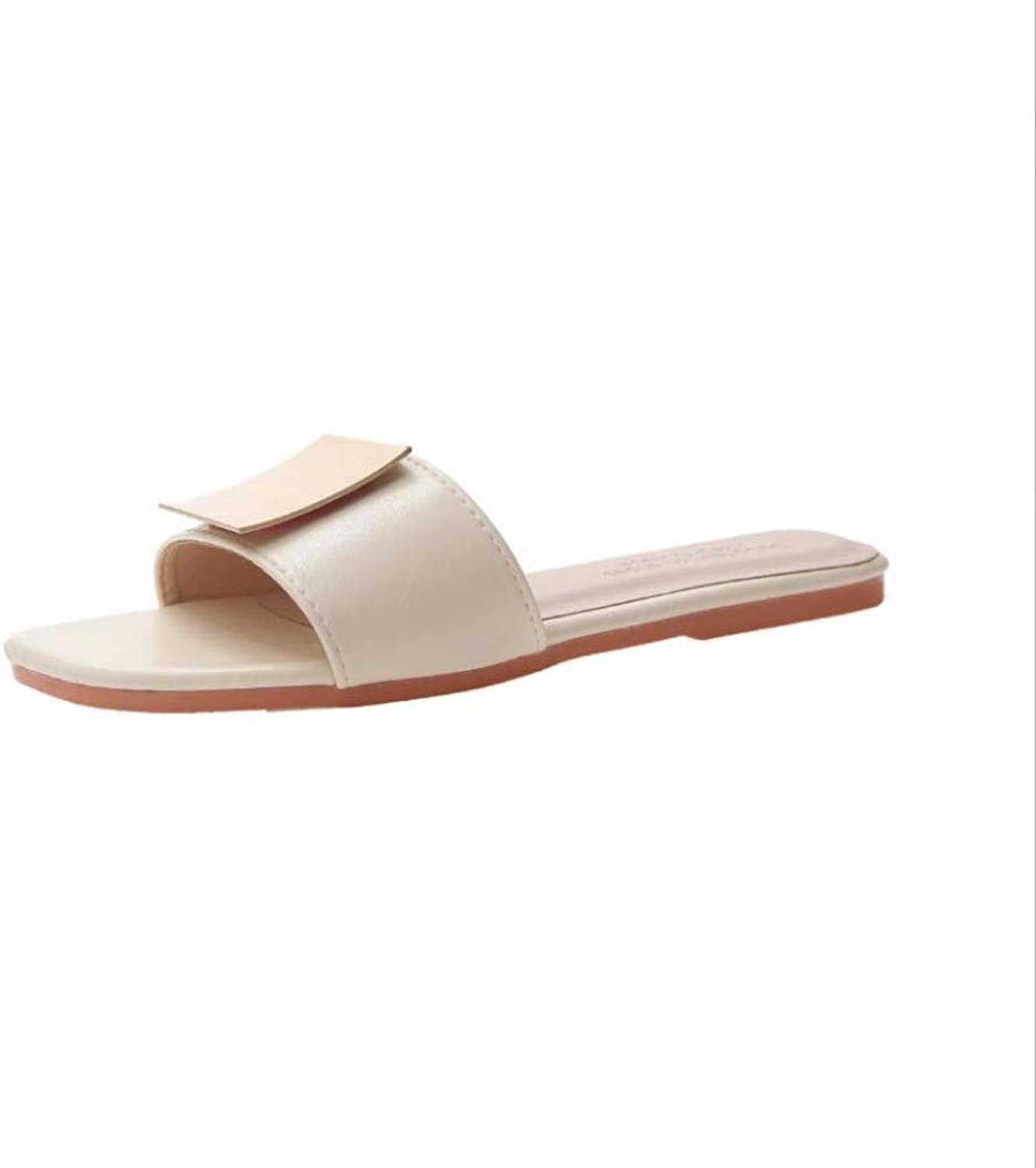 JFBZS-sandals Slippers Female Summer New Korean Edition Fashion Outside Simple One-Word Flat-Soled Slippers