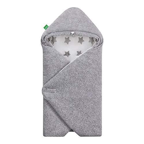 LULANDO Velours-Einschlagdecke YETI für Babyschale, 75 x 75 cm, Schlummersack für Babys, kinderfreundlich, für Jungen und Mädchen, Schutz für Babyschale und für Kindersitz (Grey - Grey Stars/White)