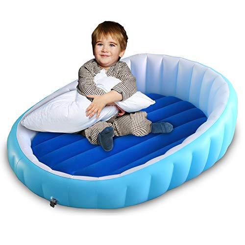 WEYFLY Aufblasbares Kinder Luftbett, Kinderreisebett Camping Reisebett Luftmatratze, Aufblasbare Luft Matratze mit Schutzzaun