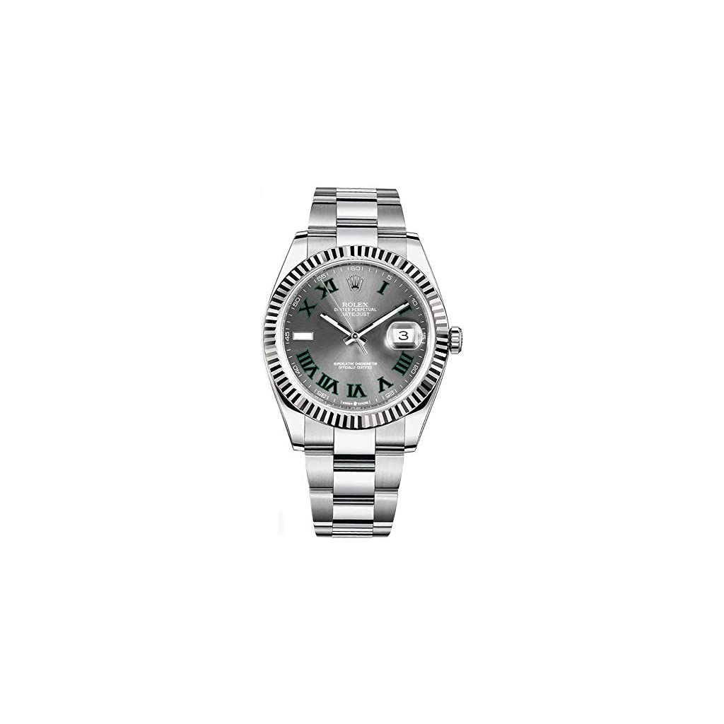 Fashion Shopping Rolex Datejust 41 Grey Dial with Green Roman Numeral Markers Men's Watch Ref. 126334
