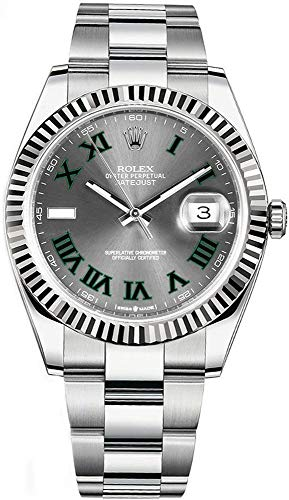 Fashion Shopping Rolex Datejust 41 Grey Dial with Green Roman Numeral Markers Men's Watch Ref.