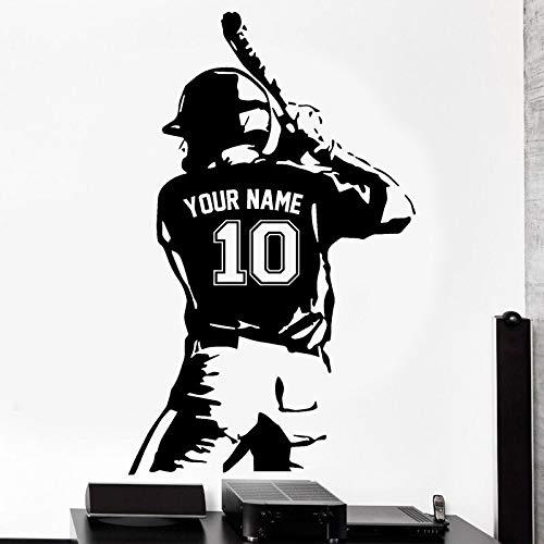 Nombre y número de jugador de béisbol deportivo personalizado. Etiqueta de la pared Decoración para el hogar Sala de juegos Dormitorio Calcomanías Mural Papel tapiz A8 57x92cm