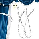 Jiechang 2 alzapaños de cuerda para cortina, alzapaños de cuerda para cortina de ventana, hebilla de tejer a mano con 2 ganchos de rosca de metal (blanco plateado)