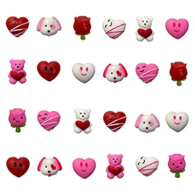 QINGQIU 24 PCS Valentines Day Mochi Squishy Toys Squishies for Kids School Class Classroom Valentines Day Cards Gifts Prizes Party Favors