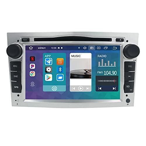 Android 10 7-Zoll-2-Din-Quad-Core-Auto-Stereo-GPS-Navigator Kompatibel mit OPEL Vauxhall Holden Antara Astra H Corsa C/D Zafira Tigra TwinTop Bluetooth 4.0 USB CANBUS Mirrorlink Silber