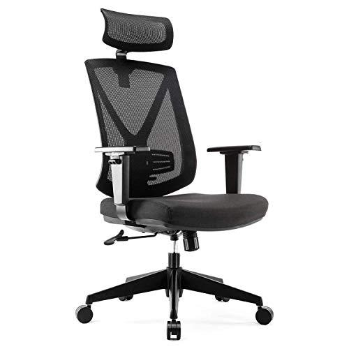 INTEY Bürostuhl, ergonomischer Schreibtischstuhl atmungsaktiv, office chair mit einstellbarer Armlehne, Kopf- und Lendenstütze, Wippfunktion bis 115°, Belastbar bis 150kg