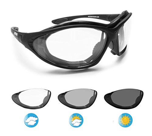 Bertoni Motorcycle Goggles Photochromic Antifog Lens - Interchangeable Arms and Elastic Strap - F333A Italy Motorbike Sunsensor Riding Padded Glasses