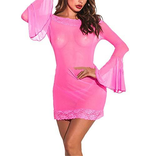 HJHK Damen sexy Dessous Langarm trägerlose Kleid Elegant erotik Babydoll Leopardenmuster Patchwork durchsichtige Minirock Leidenschaft Nacht sexy Nachthemd Nachtclubs Partys Lingerie B-Pink M