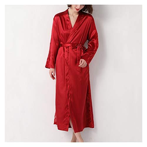 zyy Vestido de Noche Femenino Fino Verano Hielo Seda Largo Albornoz Seda Pijamas Dama de Honor Boda Vestido de Vestido 4 Colores Disponibles (Color : Wine Red, Size : L)