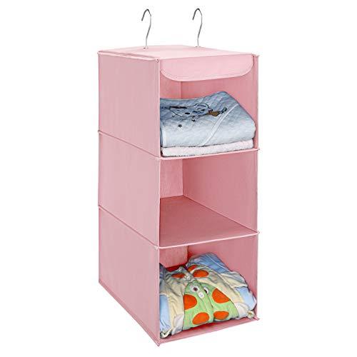 UMI. Essentials Hängeaufbewahrung, Kleiderschrank Organizer mit 3 Fächern, Hängender Stoffschrank mit Eisengestell, faltbares Hängeregal, Aufbewahrungssystem für Kleidung -rosa