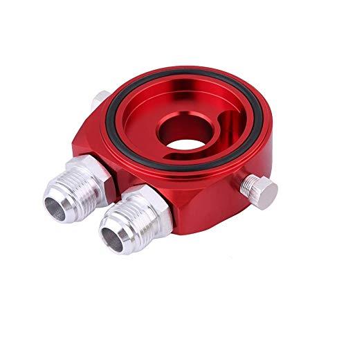 KIMISS Aluminio M20 x 1.5 Adaptador de placa de sandwich para Refrigerador de filtro de aceite de aluminio 1/8 NPT - Kit de refrigerador de aceite(rojo)