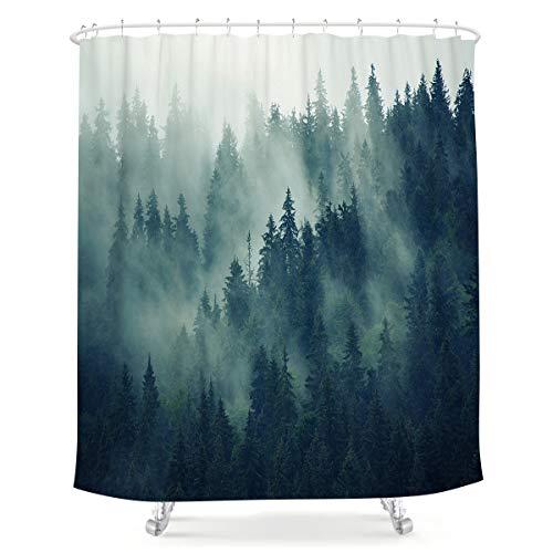LIGHTINHOME Forest Shower Curtain Foggy Rainforest Pine Tree Green Fir Landscape Woodland Scene Rustic Vintage Fabric Waterproof Bathroom Home Decor Set 72x72 Inch 12 Plastic Hooks