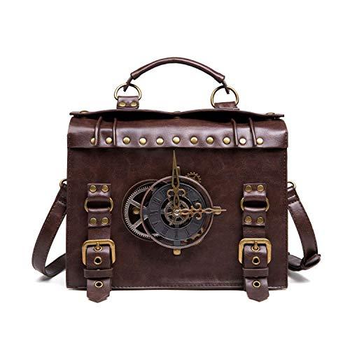 Bolso de mano retro, estilo retro, decoración de reloj, bolso de piel sintética, estilo vintage, con asa superior, bolsa cruzada para mujer, color marrón