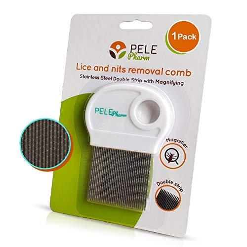 Hair Lice Comb - Head Lice Treatment for Kids, Adults, Baby Nit Brush Remover Lice Eggs - Won't Rust - Pull Hair Out for Long/Short/Thick/Thin/Fine/Dry & Wet Hair Louse (1 Pack)