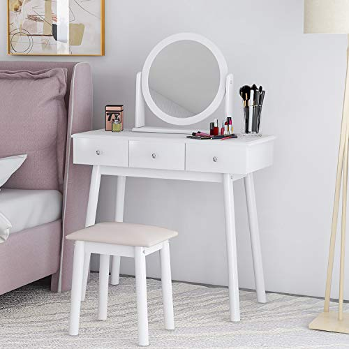 Merax Dressing Table Mirror Set Makeup Dresser Table with 3 Drawers and Stool Bedroom Dressing Desk Makeup Table Stool Set Modern Dresser Vanity Cushioned Stool with Makeup Organizer (White)
