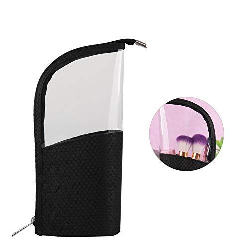 Organisateur de pinceaux de maquillage, étui de stylo à crayons pour le bureau, pochette en plastique transparente pour fermeture à glissière, petit sac de papeterie de toilette (Noir)