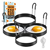 KTM KITCHEN Egg Rings Pack of 4 – Non-Stick Egg Ring for Frying Eggs – 3.5 Inches Stainless Steel Round Egg Cooker Ring with Plastic Egg Separator to Separate Egg Yolk and Egg White + Ebook