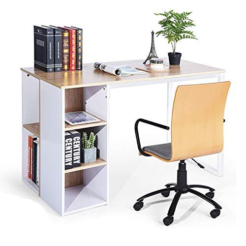 Furniture-R France Computertisch mit 5 Regalen Moderner, einfacher Home Office Schreibtisch PC Laptop Workstation Schreibarbeitsplatz mit Metallrahmen Buche Weiß, 120 x 60 x 75 cm