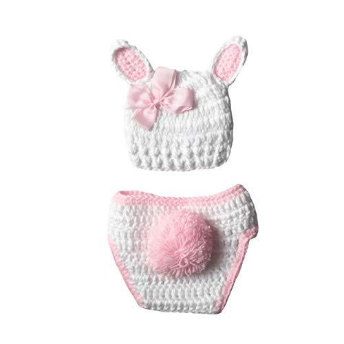puseky Recién nacido sesión de fotos Trajes bebé conejito conejo ganchillo pantalones cortos+sombrero fotografía accesorios traje