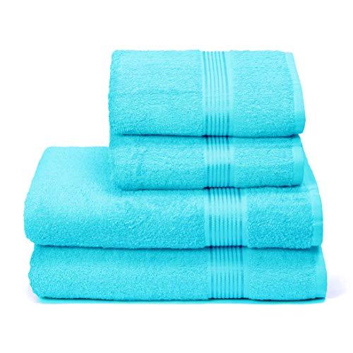 GLAMBURG Juego de 4 Toallas Ultra Suaves, de algodón, Contiene 2 Toallas de baño de 70 x 140 cm, 2 Toallas de Mano de 50 x 90 cm, Uso Diario, Compacto y Ligero, Color Azul Turquesa