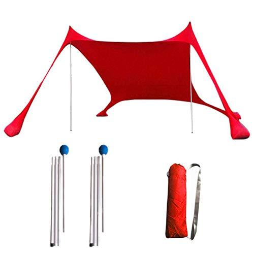 Playa Abrigo de la Tienda de Sun con un Buen Protector Solar a Prueba de Viento portátil Playa Parasol para la Familia picnics al Aire Libre Camping Playa Lounging (Red)