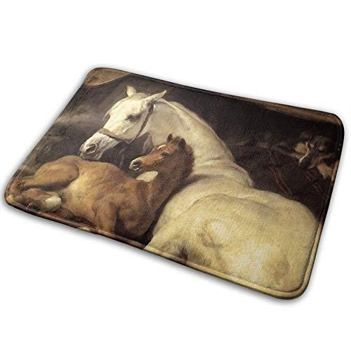 Badvorleger, arabisches Zelt mit Pferden und anderen Tieren, rutschfest, Badteppich, superweich und super saugfähig, 40 x 60 cm