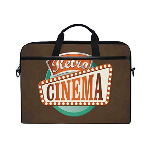 SIONOLY 15-15.4 inch Laptop Tasche,Retrostil Kino Zeichen Design Filmfestival Hollywood Thema,Neue tragbare Computer Messenger Satchel Aktentasche Arbeit Umhängetaschen 15-15.4