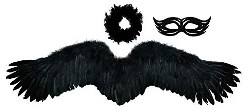 FashionWings (TM Black Wide Spread Costume Feather Angel Wings, Halo & Mask