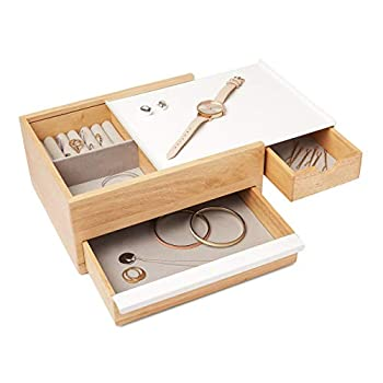 Umbra Stowit Jewelry Box - Modern Keepsake Storage Organizer with Hidden Compartment Drawers for Ring Bracelet Watch Necklace Earrings and Accessories  White / Natural