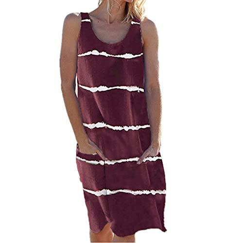 Vestido De Chaleco De Bolsillo A Rayas con Cuello Redondo Y Estampado De Verano para Mujer