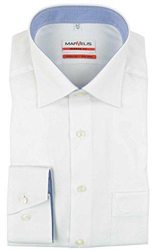 Marvelis Modern Fit Hemd weiß strukturiert, Kragenweite:43