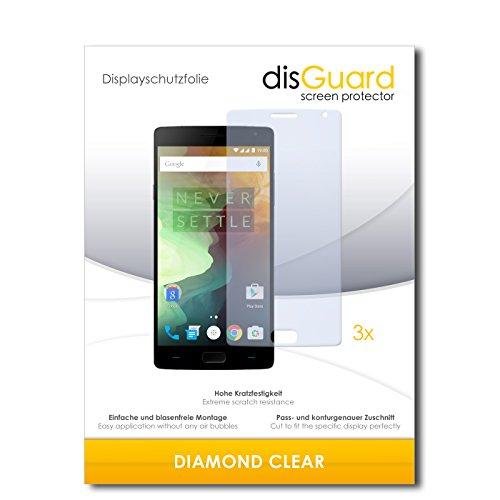 disGuard 3 x Schutzfolie OnePlus Two Bildschirmschutz Folie DiamondClear unsichtbar