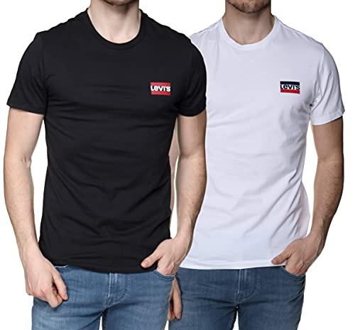 Levi's 2Pk Crewneck Graphic Camiseta, 2 Pack Sw White/Mineral Black, M (Pack de 2) para Hombre