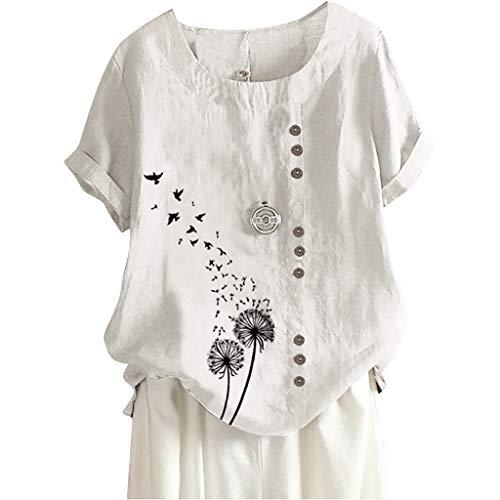 Leinenbluse Damen Kurzarm Oversize Shirt Bedruckt T-Shirt Lose Casual Sommer Oberteil aus Baumwolle & Leinen Kanpola