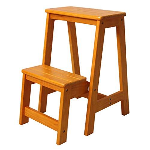 Daily Equipment Taburete con peldaños de madera Lugares altos en la cocina Baño Armario Taburete con peldaños plegable Banco de zapatos Escalera Silla Escalera de madera con 2 peldaños Antideslizan