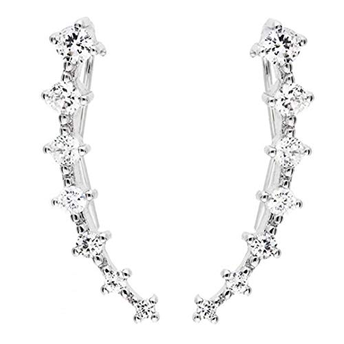 Zonfer 1pair 7 Crystals Ear Cuffs Hoop Climber Silver Earrings, for Women Girl Stud Earrings Minimalist Jewelry(Silver)