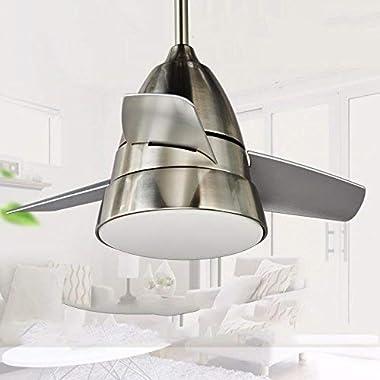 Fan Light Stainless Steel Design Fan, Bedroom Living Room Dining Room Bathroom Exhaust Fan and Fan Chandelier 36 Inch Wall Co