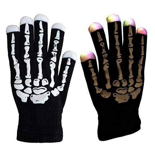 Magische 7-mode kleurrijke LED-handschoenen Rave Light Finger Lighting Knipperende handschoenen Unisex-handschoenen - één paar. Zwart skelet volwassen maat