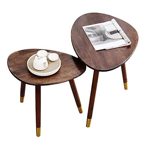 SH-tables Mesa De Centro, Mesa De Ocio De Madera Maciza Americana, Mesa Lateral del Sofá, para Sala De Estar, Dormitorio, Balcón, L 50 / 65cm (Size : 2pcs)