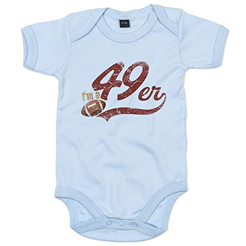 I\'m a 49er Premium Babybody American Football Super Bowl San Francisco Mädchen und Jungen Kurzarmbody, Farbe:Babyblau (Dusty Blue BZ10);Größe:3-6 Monate