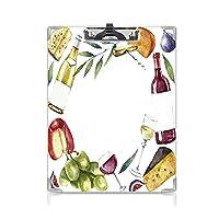 クリップボード A4サイズ対応 レンジップボード ワイン 作業用ペーパーホルダー (2パック)手描きの食品オブジェクトとラウンドフレーム水彩ワインチーズフルーツコレクション装飾多色
