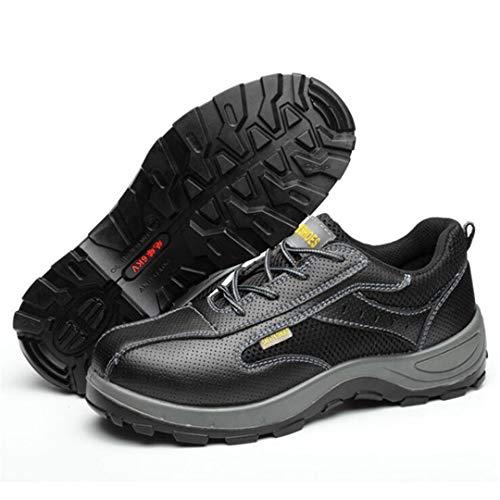 NKJGFV Trabajo Unisex Botas de Cuero de los Hombres de Anti-Rotura violenta Zapatos de Seguridad del tamaño Grande de Anti-Piercing Botas Anti-colisión de Acero Zapatos de los Hombres Black 8.5