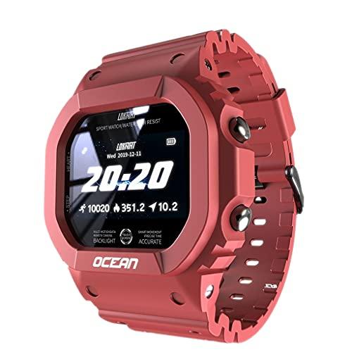 MERIGLARE Reloj Inteligente con Frecuencia Cardíaca, Deportes Múltiples, IP68, Resistente Al Agua para Hombres, Regalo - Rojo