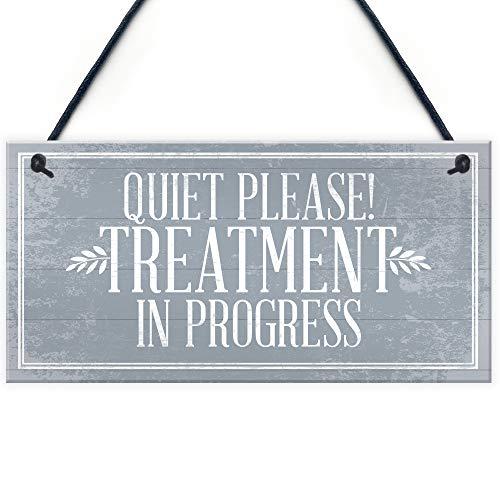 Quiet Please Treatment in Progress Do Not Disturb Hanging Wall Door Salon Sign Plaque Gift