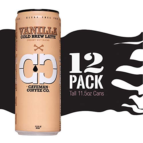 Cold Brew Coffee, Vanilla Latte, Creamy MCT, Sugar Free, Keto, Paleo Certified, No Refrigeration Required, South American Single Origin, Low Acidity, Tall 11.5 oz Cans, 12 Pack