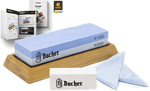 Pietra per affilare Premium BACHER. 2 superfici di diverse grane 1000/3000 – Affilacoltelli, pietra arenaria con base in bambù antiscivoloe guida dettagliata in formato eBook