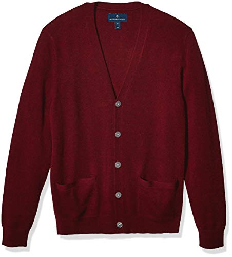 Amazon Brand - Buttoned Down Men's 100% Premium Cashmere Cardigan Sweater, Burgundy X-Large