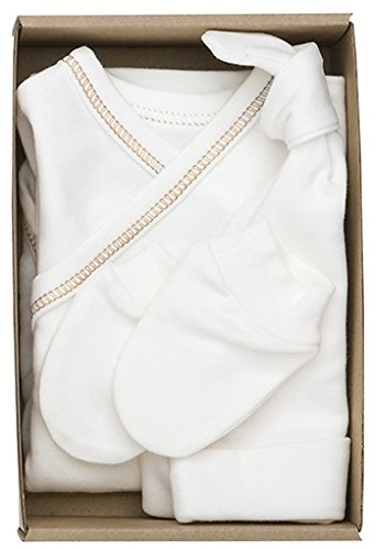 The Dida World Nones – Pack Naissance avec 1 bodi Kimono repunte Marron, Gants et Bonnet, Taille 0 Mois