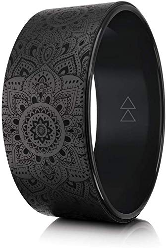 THE YOGA WHEEL by YOGA DESIGN LAB   Eco Printed, Extra Strength, Padded, Natural Cork Dharma Exercise Wheel   Designed in Bali   Enhance Your Postures and Stretch Deeper   32cm x 13cm (Mandala Night,) by Yoga Design Lab